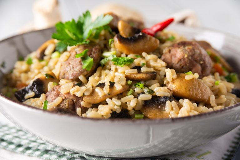 Rissotto with Sausage and Mushrooms
